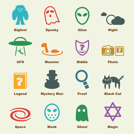 mystery: mystery elements, vector infographic icons