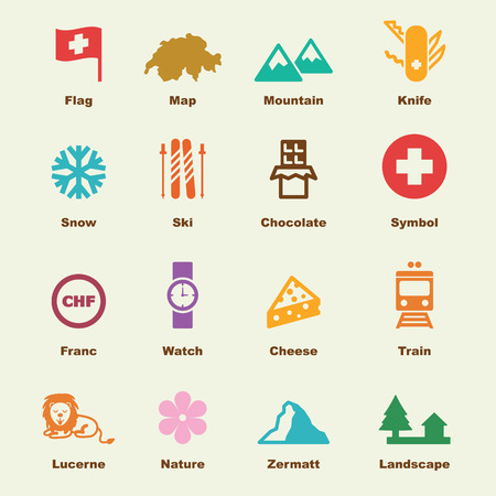 swiss alps: switzerland elements, vector infographic icons