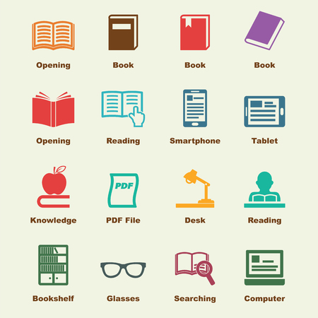 reading glass: reading elements, vector infographic icons Illustration