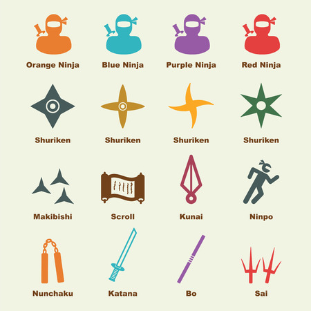 ninja: ninja elements, vector infographic icons Illustration
