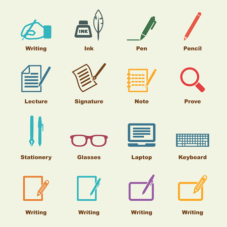 pencil drawings: writing elements, vector infographic icons