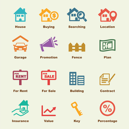 commercial property: real estate elements, vector infographic icons Illustration