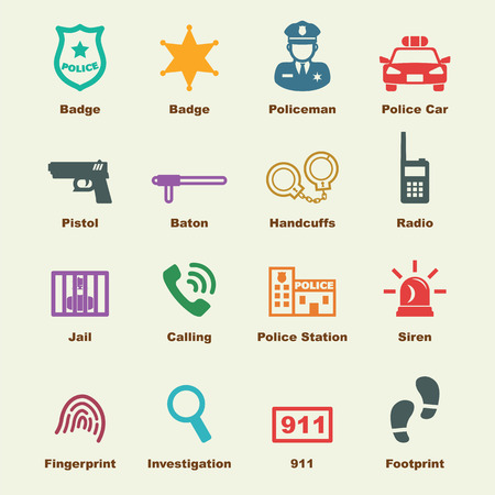 patrolman: police elements, vector infographic icons Illustration
