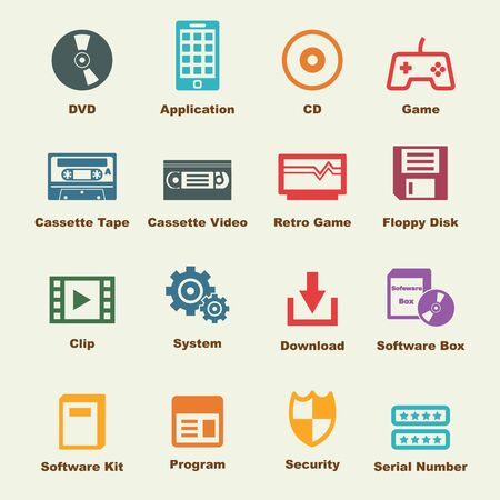 blu ray: software elements, vector infographic icons