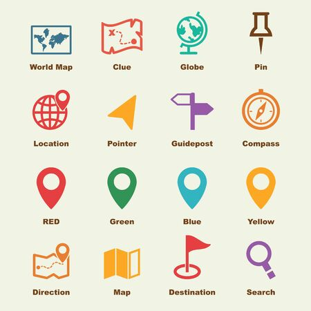 concept design: map elements, vector infographic icons Illustration