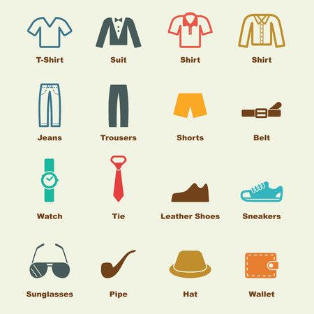 menswear: menswear elements, vector infographic icons Illustration