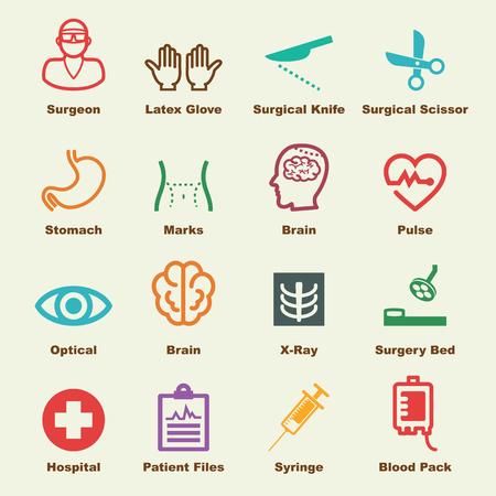 chirurgo: elementi di chirurgia, le icone vettoriali infographic
