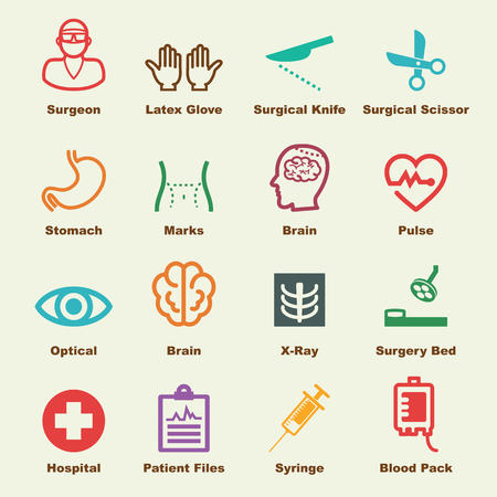 plastic heart: surgery elements, vector infographic icons Illustration