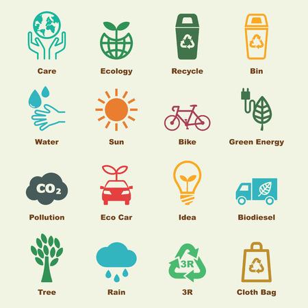medio ambiente: guardar los elementos de tierras, los iconos del vector de infografía Vectores
