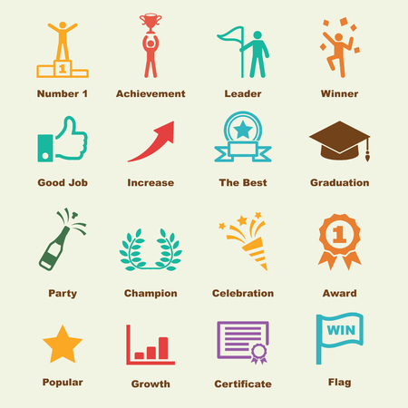 winning first: success elements, vector infographic icons