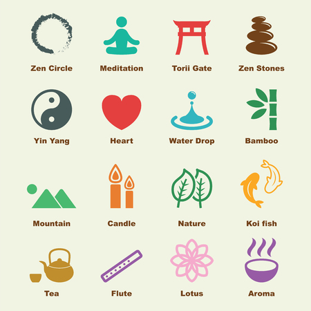 green tea leaf: zen elements, vector infographic icons Illustration