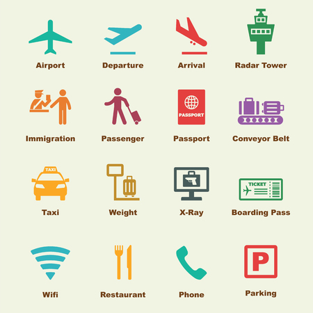 passport: airport elements, vector infographic icons