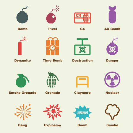 human time bomb: bomb elements, vector infographic icons