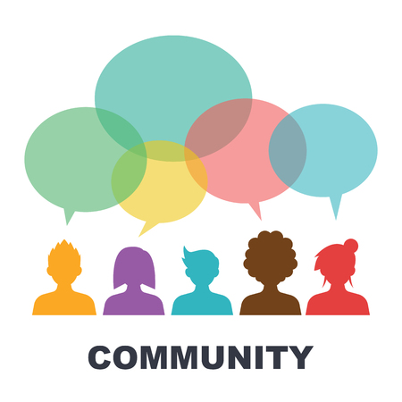 comunidad: comunidad social, diseño del vector logo plana