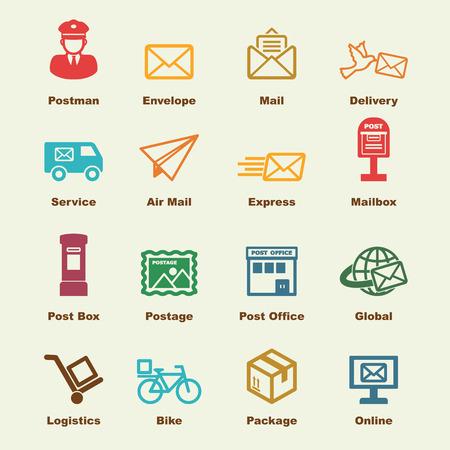 cartero: elementos del servicio de correos, iconos vectoriales infográficas Vectores