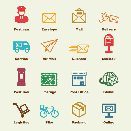 news van: post service elements, vector infographic icons