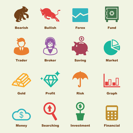 bear market: stock market elements, vector infographic icons