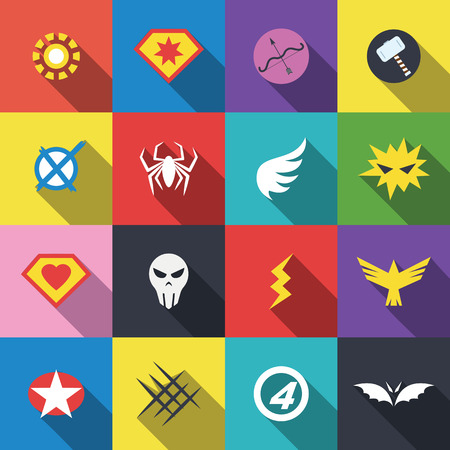 badges super-héros, vecteur design plat Illustration