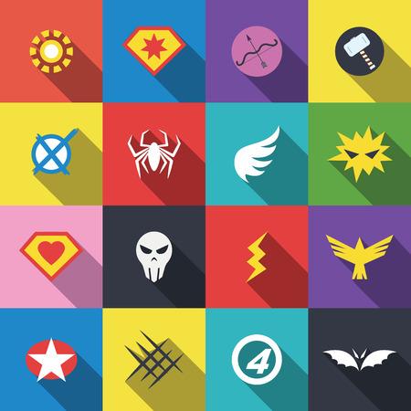 hombre fuerte: insignia del super héroe, diseño plano vectorial Vectores