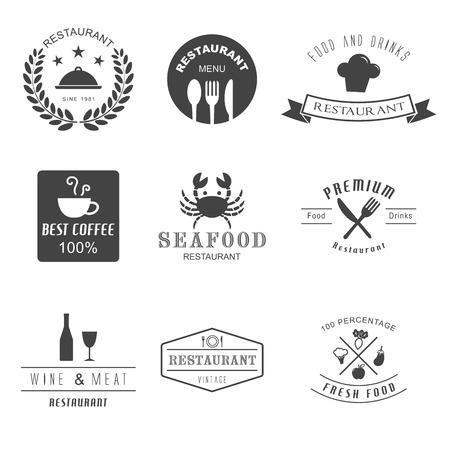 sello: restaurante, estilo retro del vector