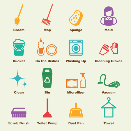 cleaning equipment: cleaning elements, vector infographic icons