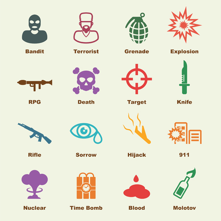 molotov: terrorism elements, vector infographic icons