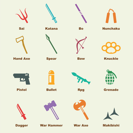 weapon: weapon elements, vector infographic icons