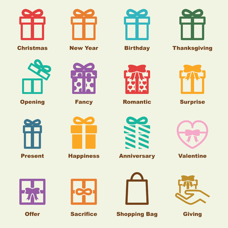 give a gift: gift elements, vector infographic icons