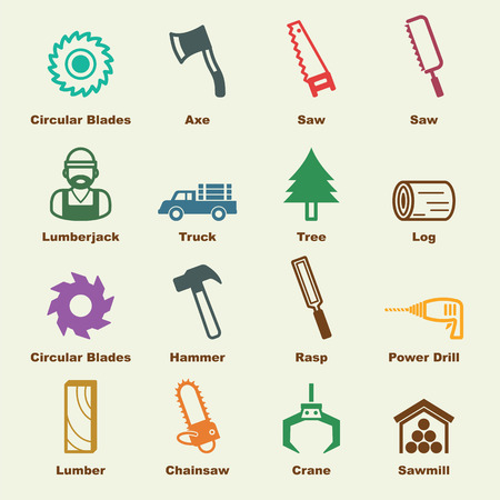 sawmill elements, vector infographic icons
