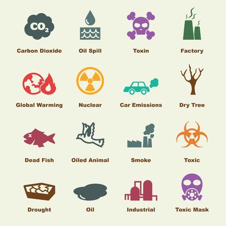 residuos toxicos: elementos de la contaminación, los iconos del vector infográficas