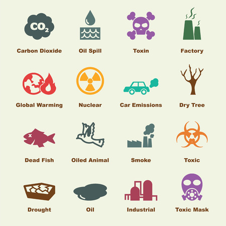 pollution: pollution elements, vector infographic icons