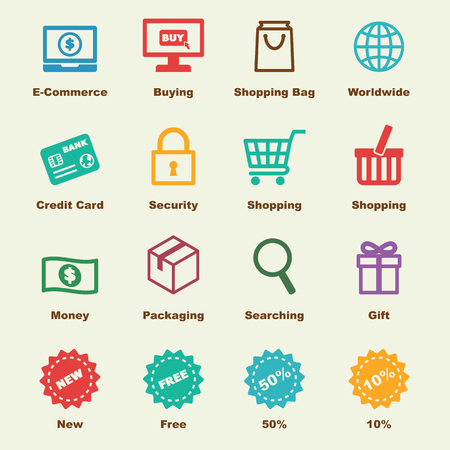 e-commerce elements, vector infographic icons Çizim
