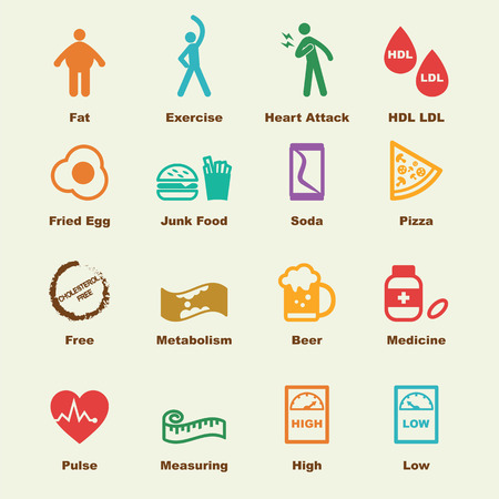 cholesterol elements, vector infographic icons
