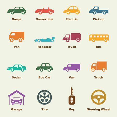 mini bus: car elements, vector infographic icons Illustration