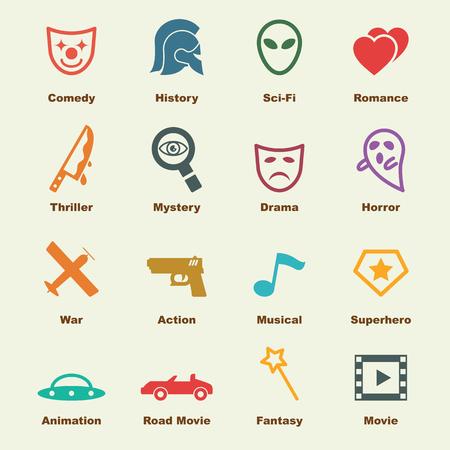 Cine: elementos del g�nero de la pel�cula, los iconos del vector infogr�ficas