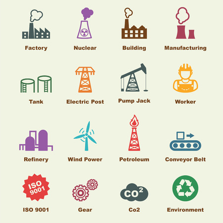 building industry: industry elements, vector infographic icons Illustration