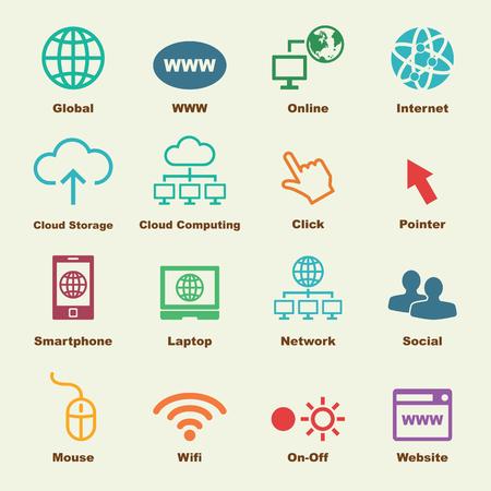 logo informatique: éléments en ligne, icônes vecteur infographiques