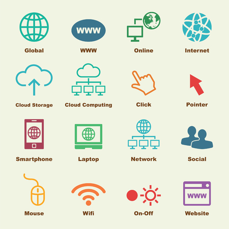 online elements, vector infographic icons Çizim
