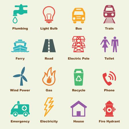 éléments d'utilité publique, icônes vecteur de infographiques