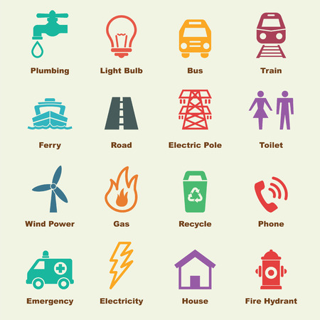 woman on phone: public utility elements, vector infographic icons