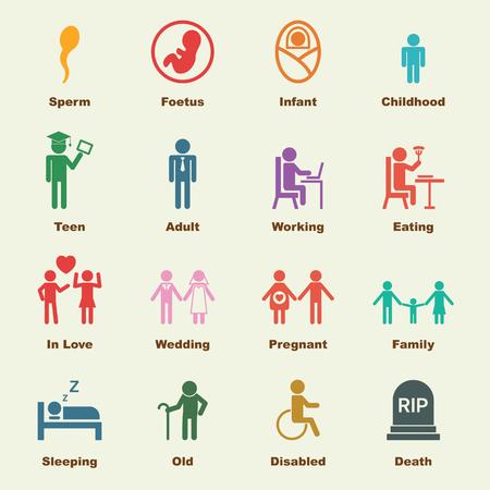 niños discapacitados: elementos de la vida humana, los iconos del vector infográficas