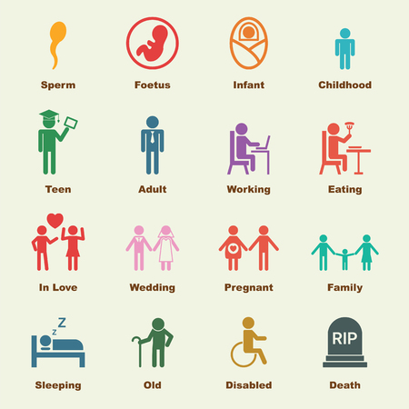 life and death: human life elements, vector infographic icons