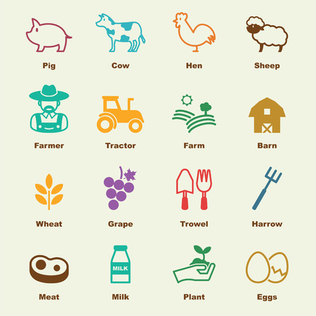 icon illustration: farming elements, vector infographic icons