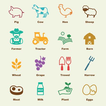 harrow: farming elements, vector infographic icons