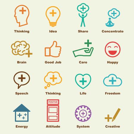 actitud positiva: pensar en elementos positivos, los iconos del vector de infografía