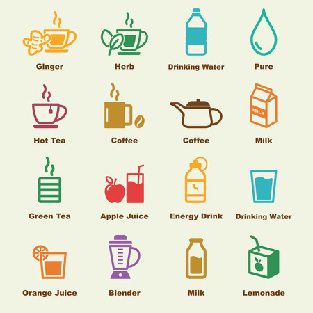hot water bottle: healthy drink elements, vector infographic icons