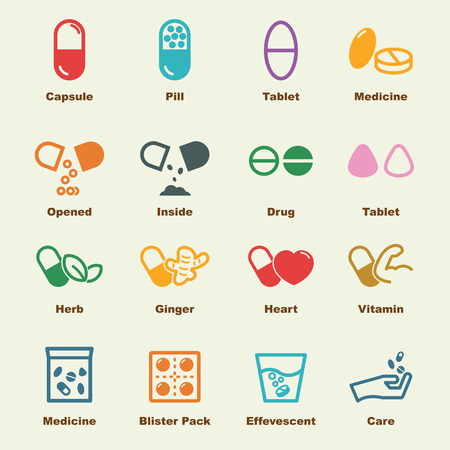 medicine infographic: capsule elements, vector infographic icons Illustration