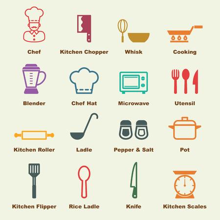 elementos de cocina, iconos vectoriales infográficas