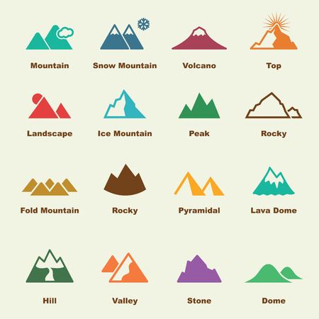 snow climbing: mountain elements, vector infographic icons