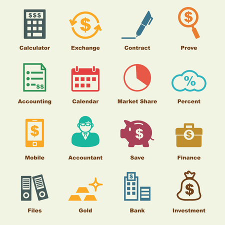 accounting logo: accounting elements, vector infographic icons